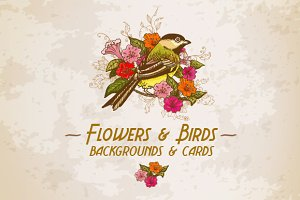 Flowers & Birds backgrounds & Cards