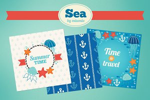 Sea greeting cards and patterns