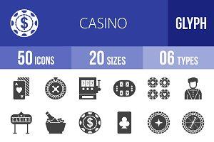 50 Casino Glyph Icons