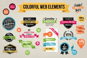 Colorful Web Elements Set