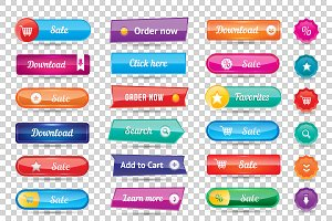 Website buttons design vector