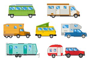 Campers vacation travel car vector