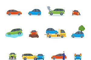 Car crash collision traffic vector