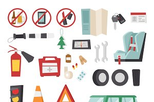 Various car parts equipment vector