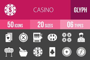 50 Casino Glyph Inverted Icons
