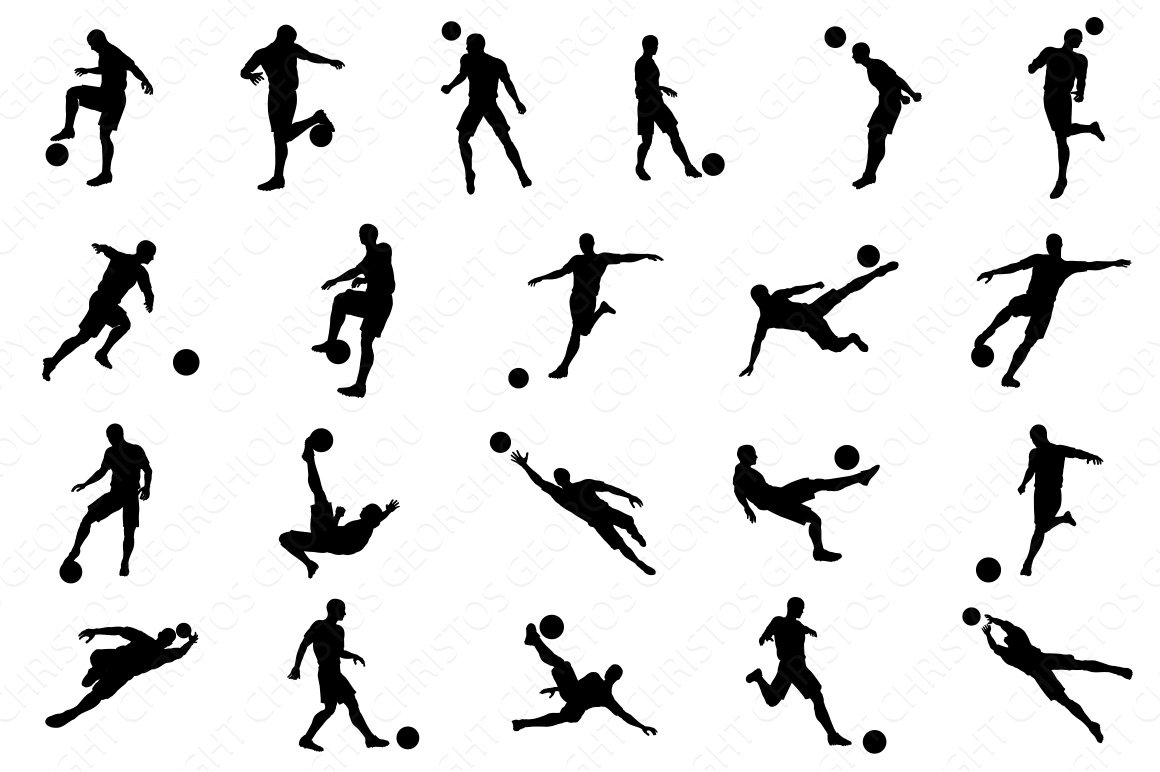 soccer football player silhouettes illustrations creative market