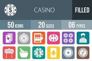50 Casino Flat Round Corner Icons