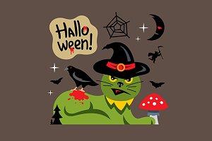 Halloween Green Cat