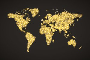 World Map made up from golden lights