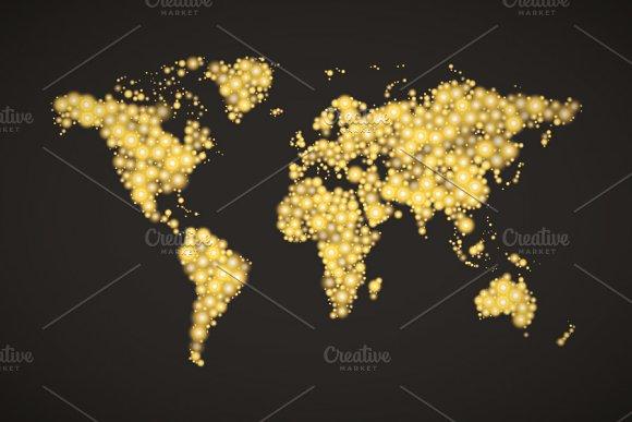 World map made up from golden lights illustrations creative market world map made up from golden lights illustrations sciox Choice Image