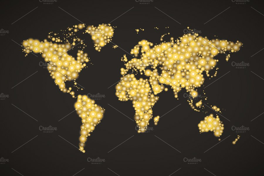 World map made up from golden lights illustrations creative market gumiabroncs Image collections
