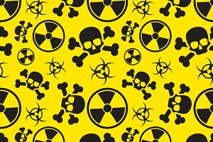 Danger signs on yellow pattern