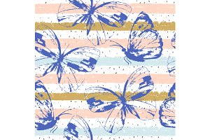 Striped Pattern With Butterflies