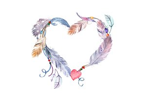 Watercolor Feathers Heart