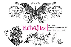 Hand Drawn Butterflies Set