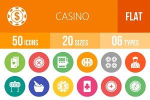 50 Casino Flat Round Icons