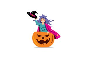 Witch in pumpkin