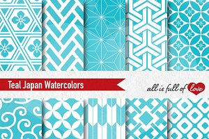 Teal Watercolor Digital Paper