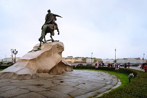 Famous 18th century monument of Russian emperor Peter the Great, known as The Bronze Horseman, situated in the Senate Square, Russia. Symbol of Saint Petersburg