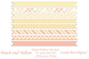 Peach and Yellow Ribbon Borders