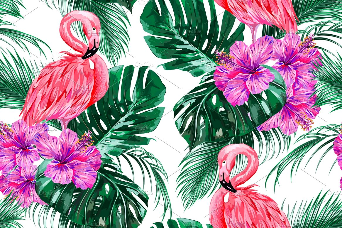 Aninimal Book: Pink flamingos tropical pattern ~ Graphic Patterns ...