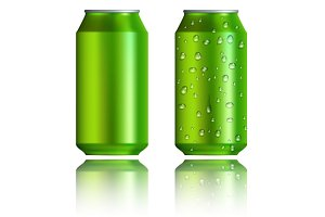 Green aluminum cans with drops