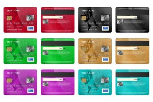 Credit cards set, realistic style