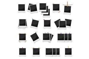 Photo frames set, realistic style