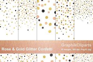 Rose Gold & Glitter Confetti Png+Jpg