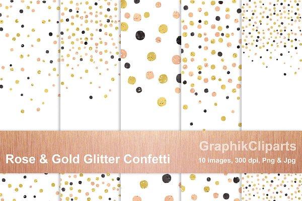 Rose Gold & Glitter Confetti Png+Jp…