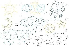 Doodle weather set.