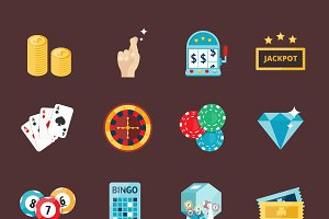 Casino game icons vector