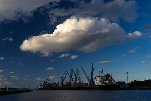 Big clowd. Port. Riga