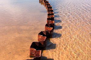 Old steel pier on the Baltic Sea