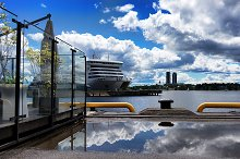 Passenger ferry with reflection