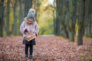 Cute little girl with a basket in autumn day outdoors in beautiful forest