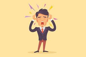 Man get headache character