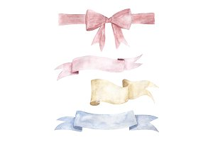 Set Watercolor Ribbons