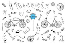Bicycle collection in doodle style