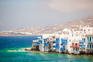 Little Venice the most popular attraction in Mykonos Island Greece, Cyclades