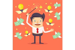 Businessman character makes money