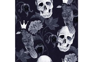 Vintage Floral Pattern With Skull
