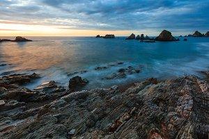 Evening Atlantic ocean landscape.