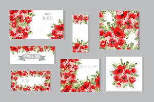 Red Poppy Card Templates