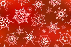A lot of icy snowflakes on red