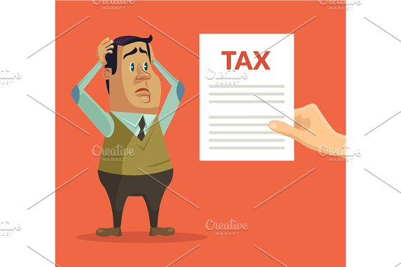 Man character shocked with tax