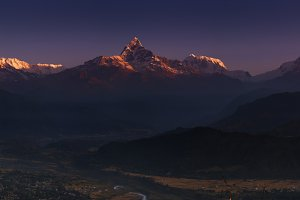 Himalayan panorama at sunrise