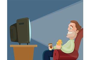 Man character watching television