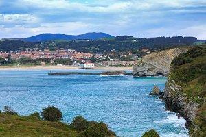 Summer Gorliz town coast (Spain).