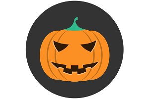 Helloween pumpkin icon flat